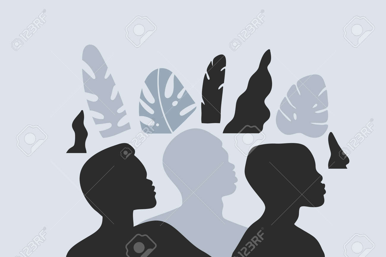 Hand drawn vector abstract stock graphic illustration with young black african american beauty people silhouette portraits ,night tribal african freedom concept isolated on color background - 155363626