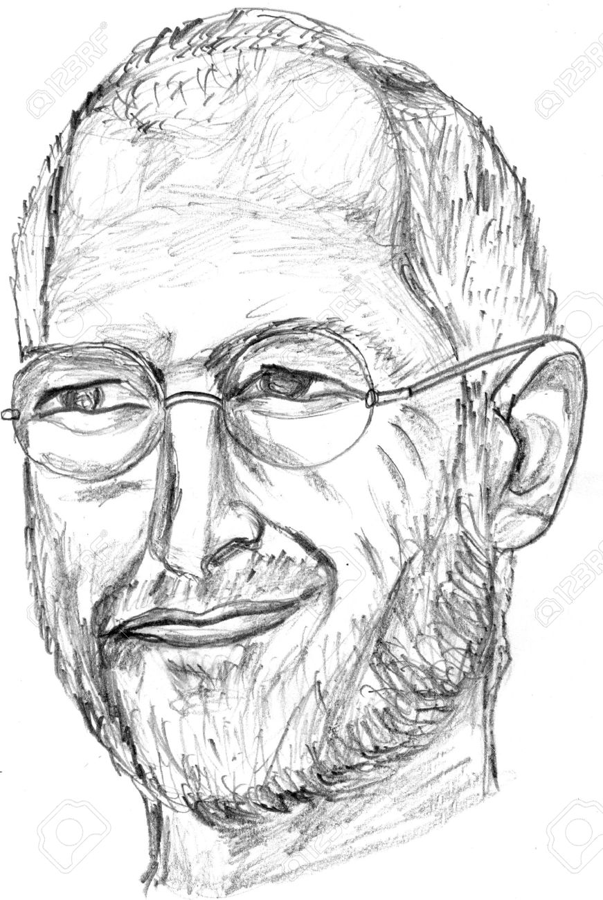 Steve jobs pencil sketch front face stock photo 10911349