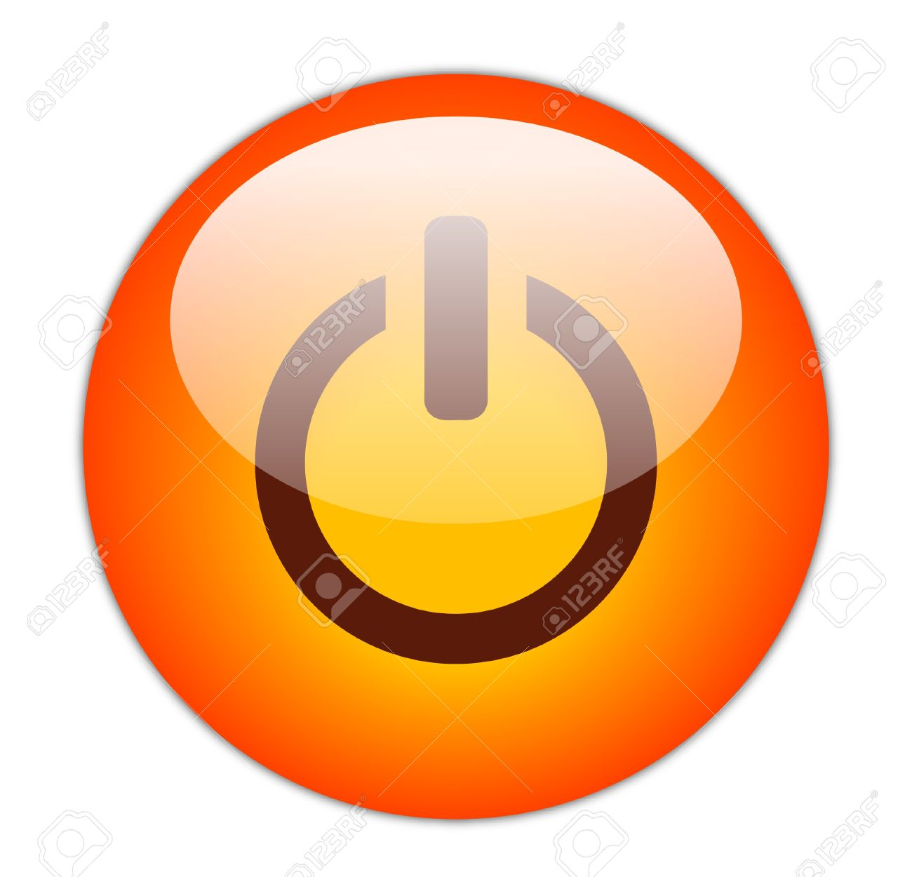 Glassy Red Power Icon Button Stock Photo - 15271242