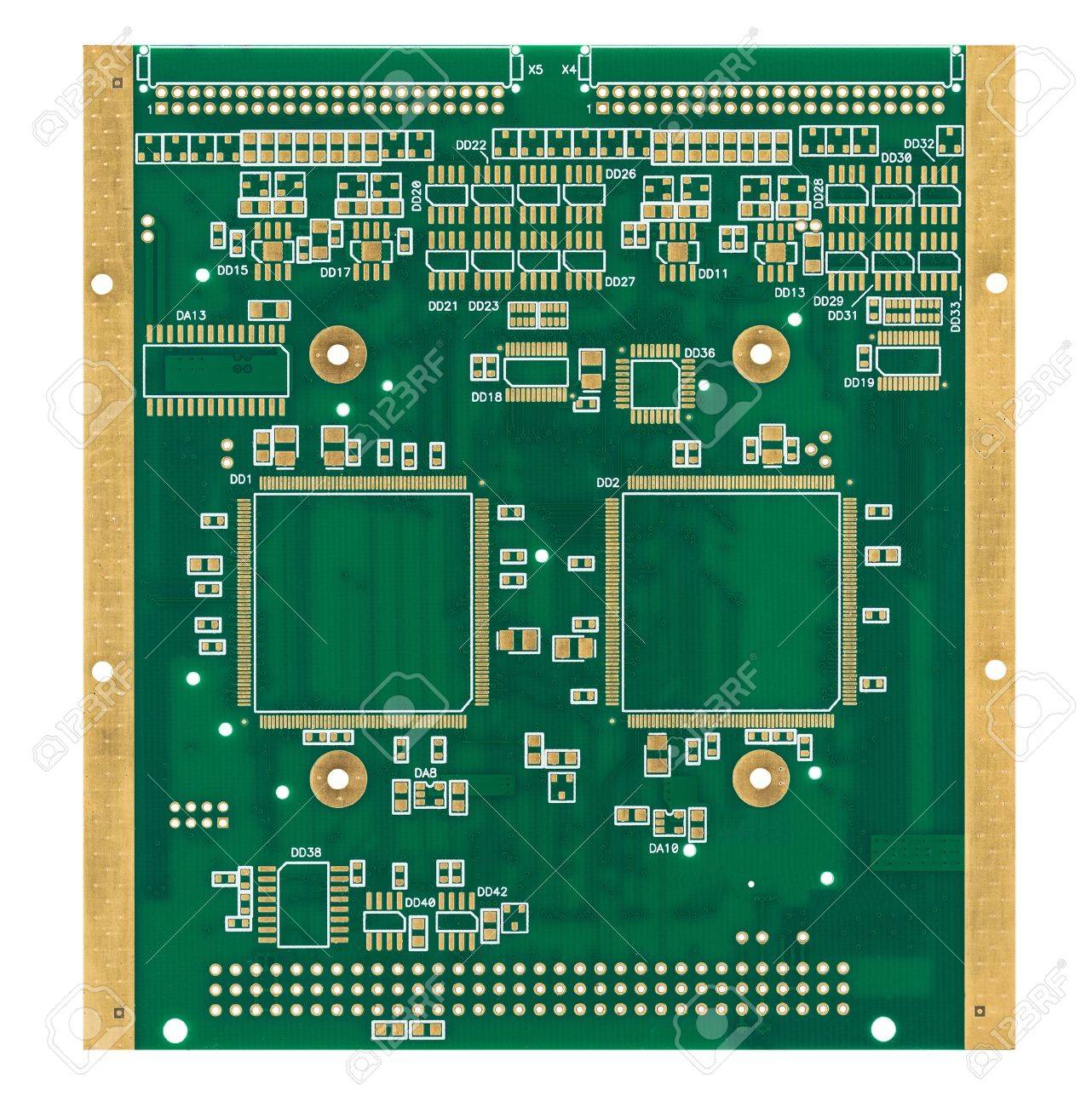 The Empty Green Printed Circuit Board With Gilded Contacts Isolated Pcb Printedcircuitboard 3d Royalty Free Stock Photography Photo On White