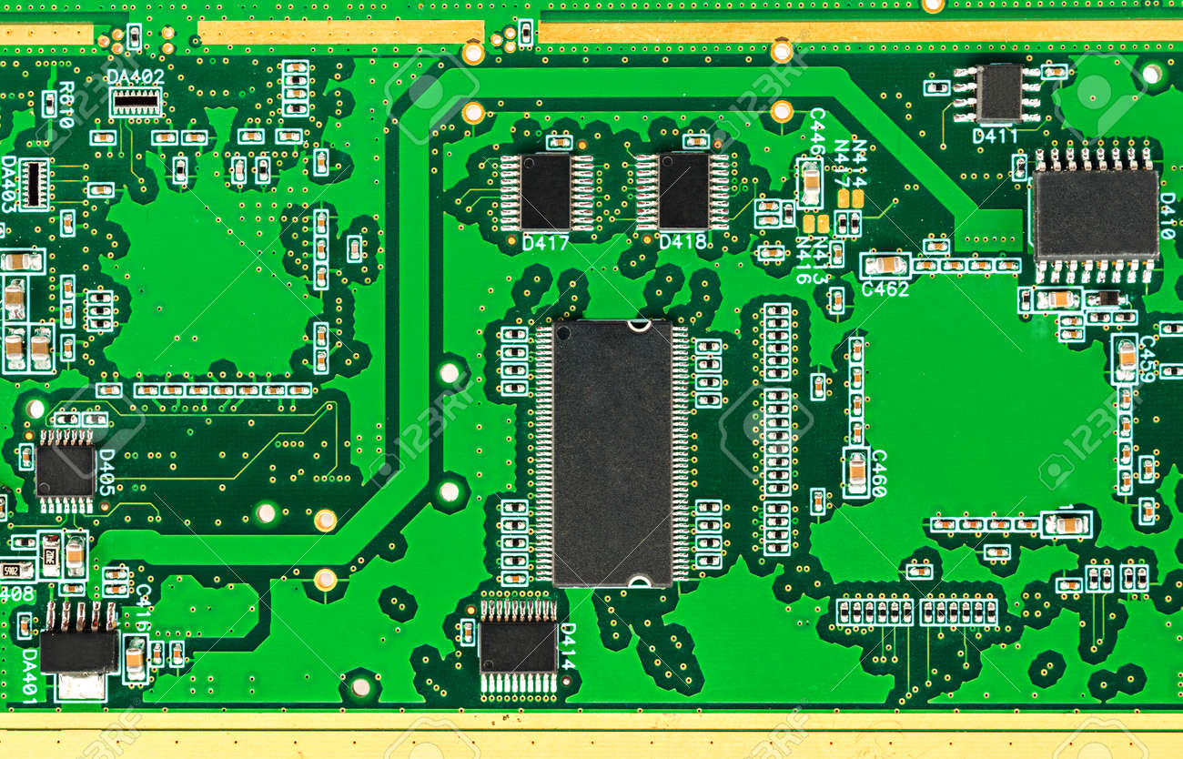 Printed Circuit Board Pcb With Chip Electronic Components Stock Boards Photo 53684719