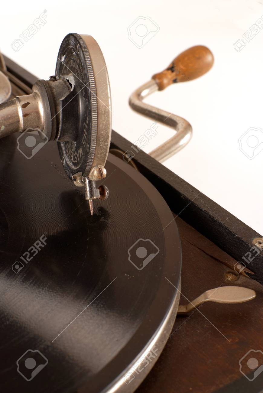 Detail Of A Vintage Grammophone With 78 Rpm Vinyl Record On Stock Photo