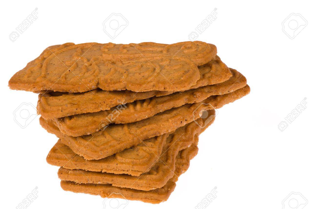 A Heap Of Crunchy Spekulatius Biscuits On White