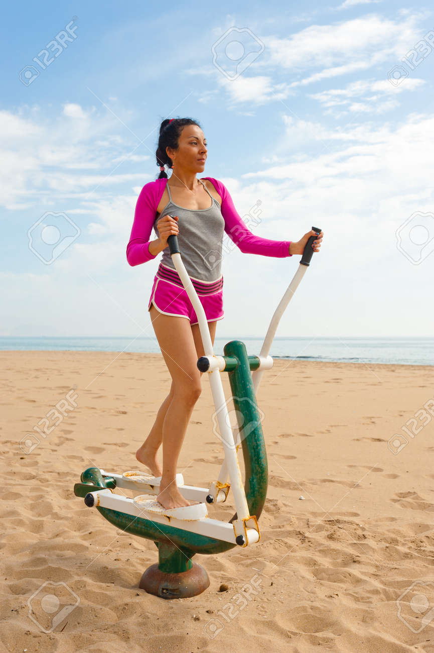 An outdoor fitness machine on a scenic beach location Stock Photo - 13792463