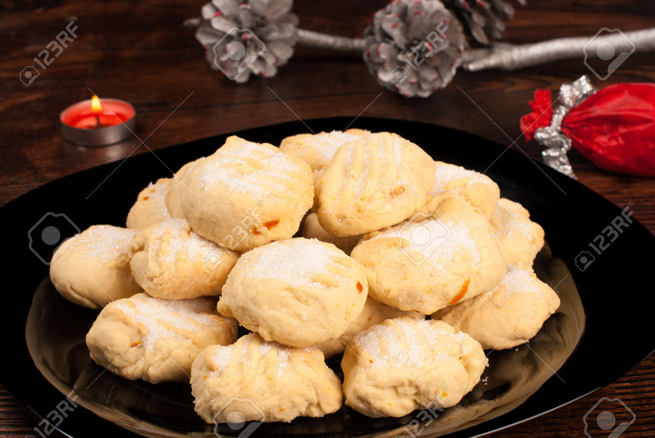 Traditional Spanish Christmas Cookies Polvorones With Festive