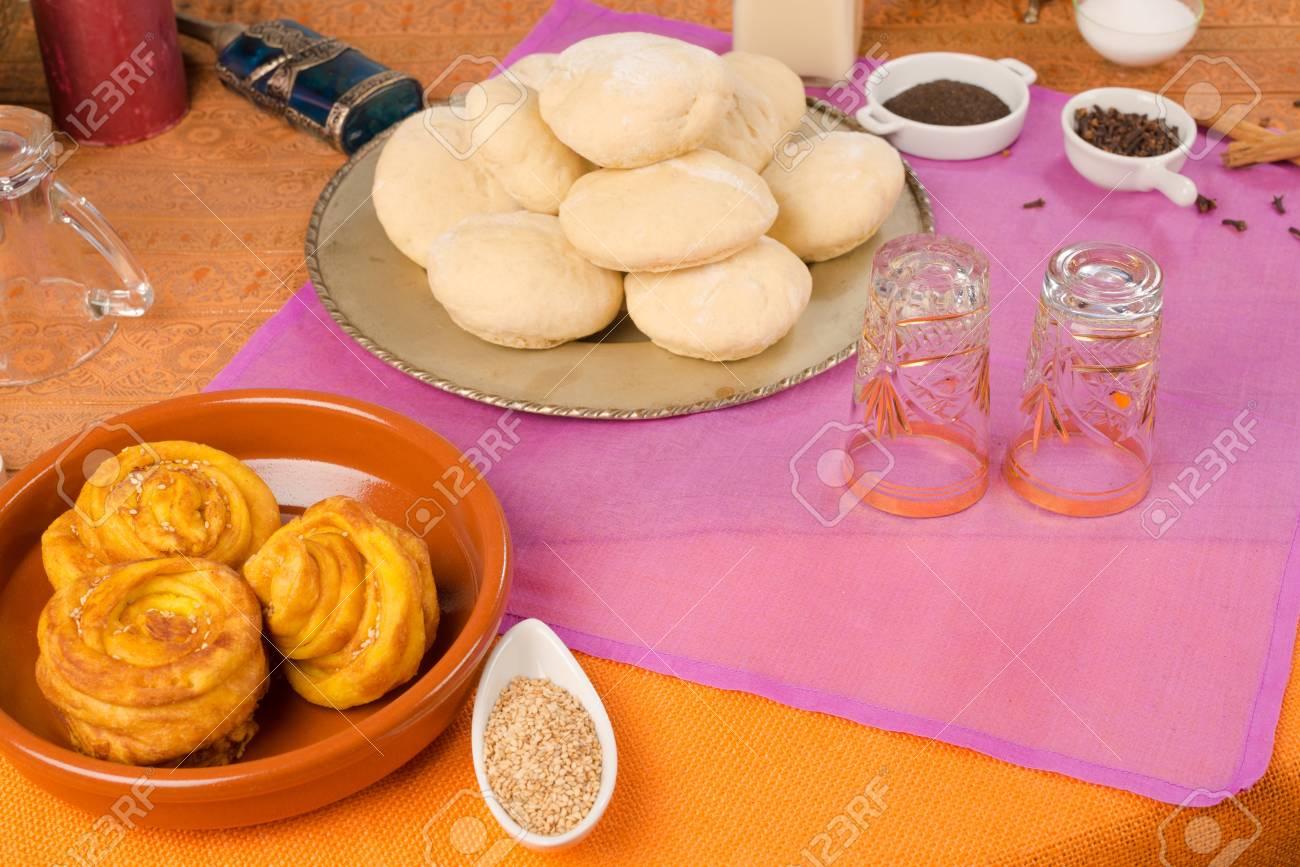 Cuisine Marocaine Nature Morte Avec Des Ingredients Et De La