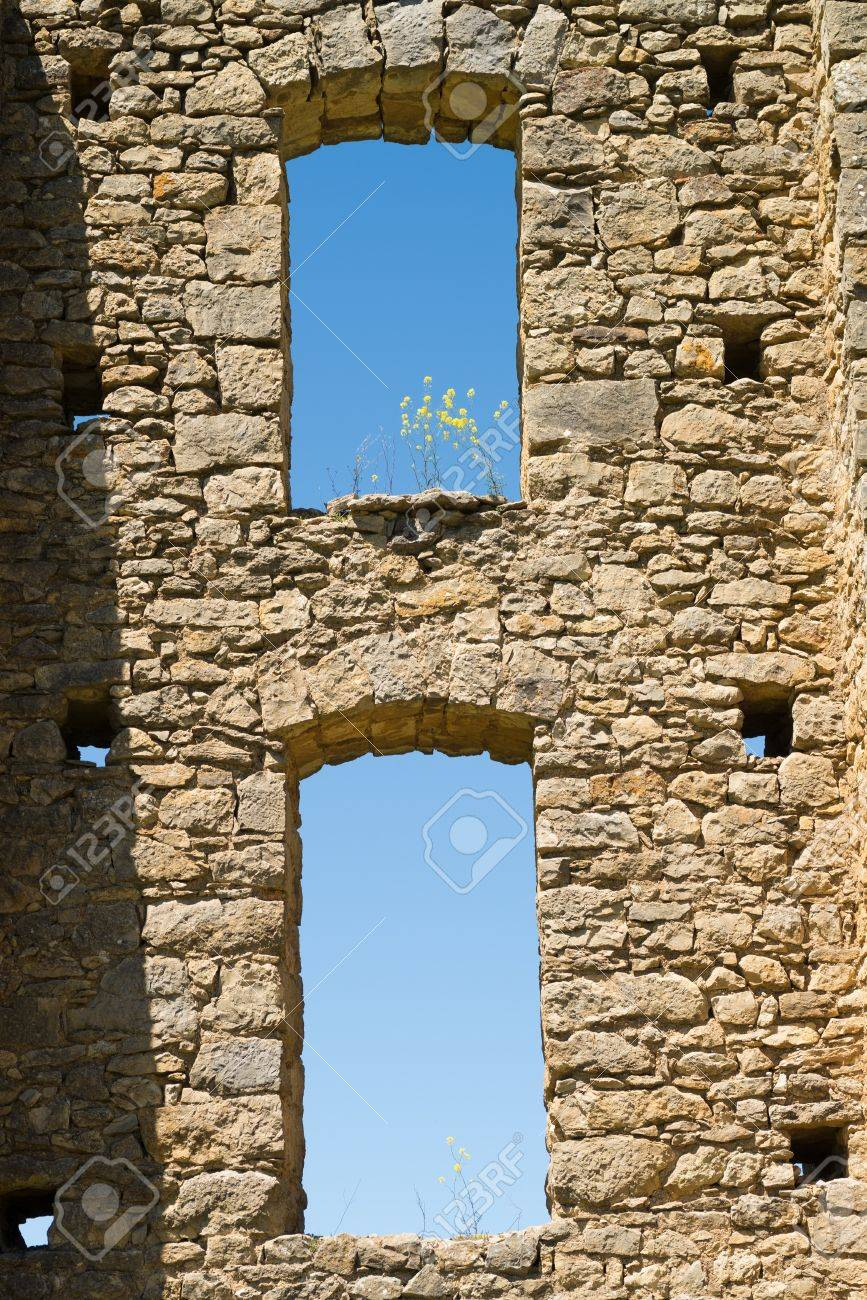 detail take of arches and windos on an old aqueduct stock photo