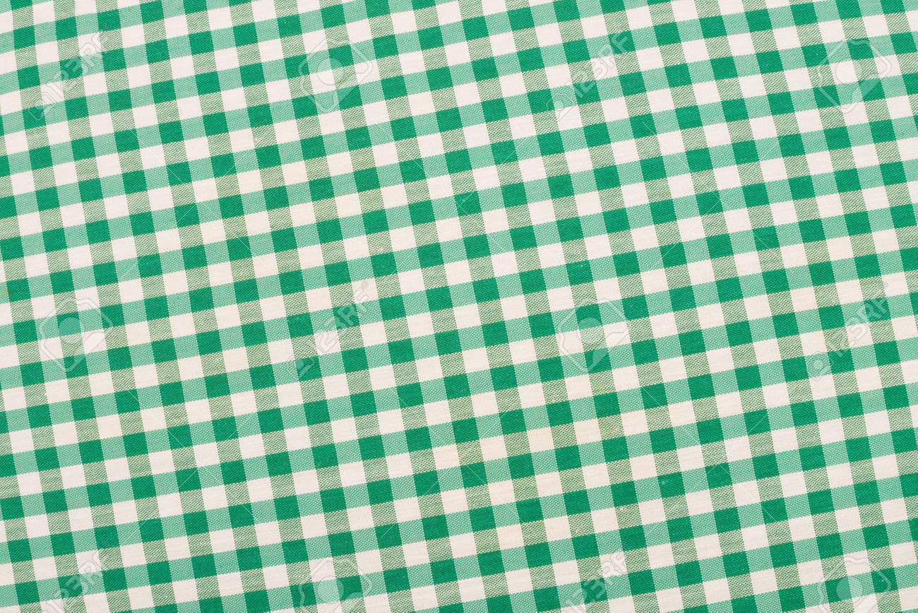 Green And White Checkered Fabric, Traditional Picnic Tablecloth Stock  Photo, Picture And Royalty Free Image. Image 22021605.