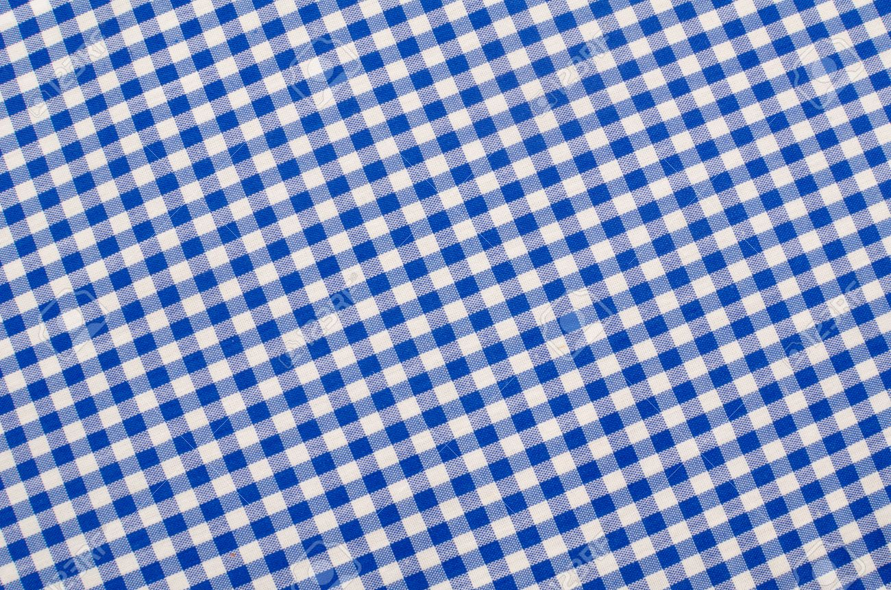 Merveilleux Blue And White Checkered Fabric, Traditional Picnic Tablecloth Stock Photo    22267030