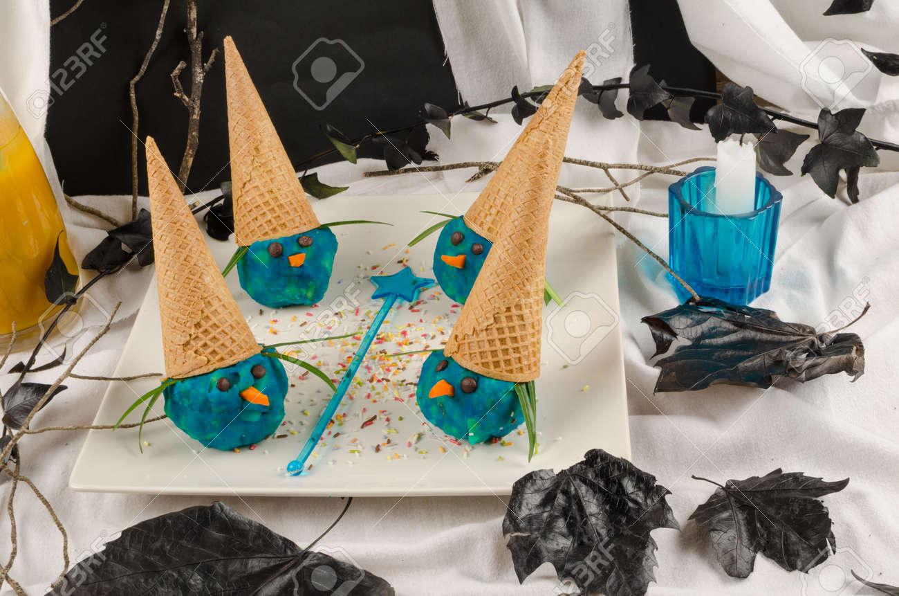 funny halloween witches ice cream dessert for children stock