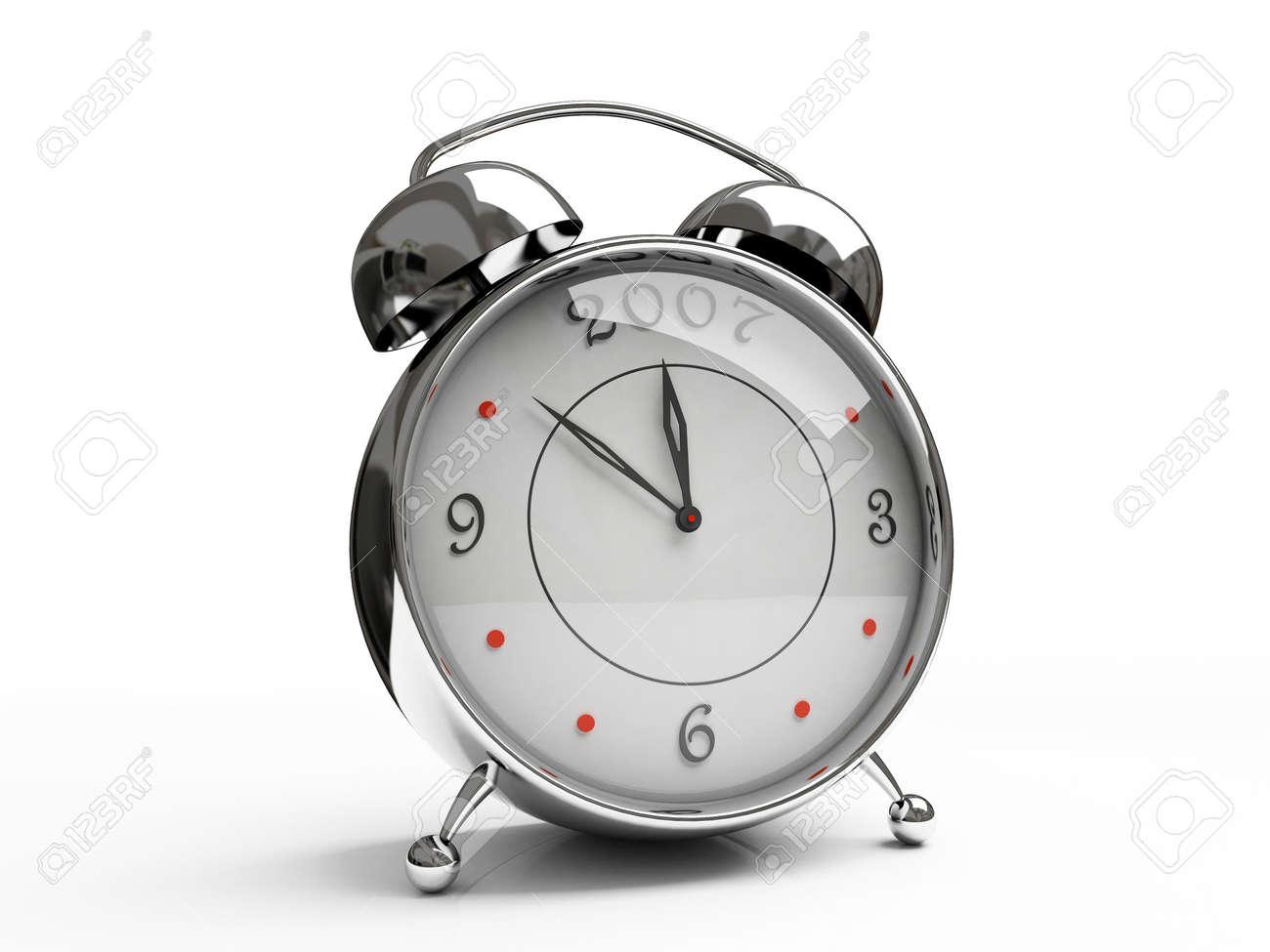 Metallic alarm clock isolated on white background 3D Stock Photo - 666991