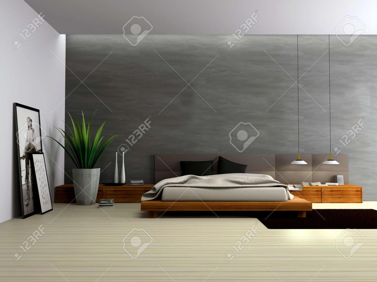 Intérieur de la chambre à coucher moderne de rendu 3d banque d ...