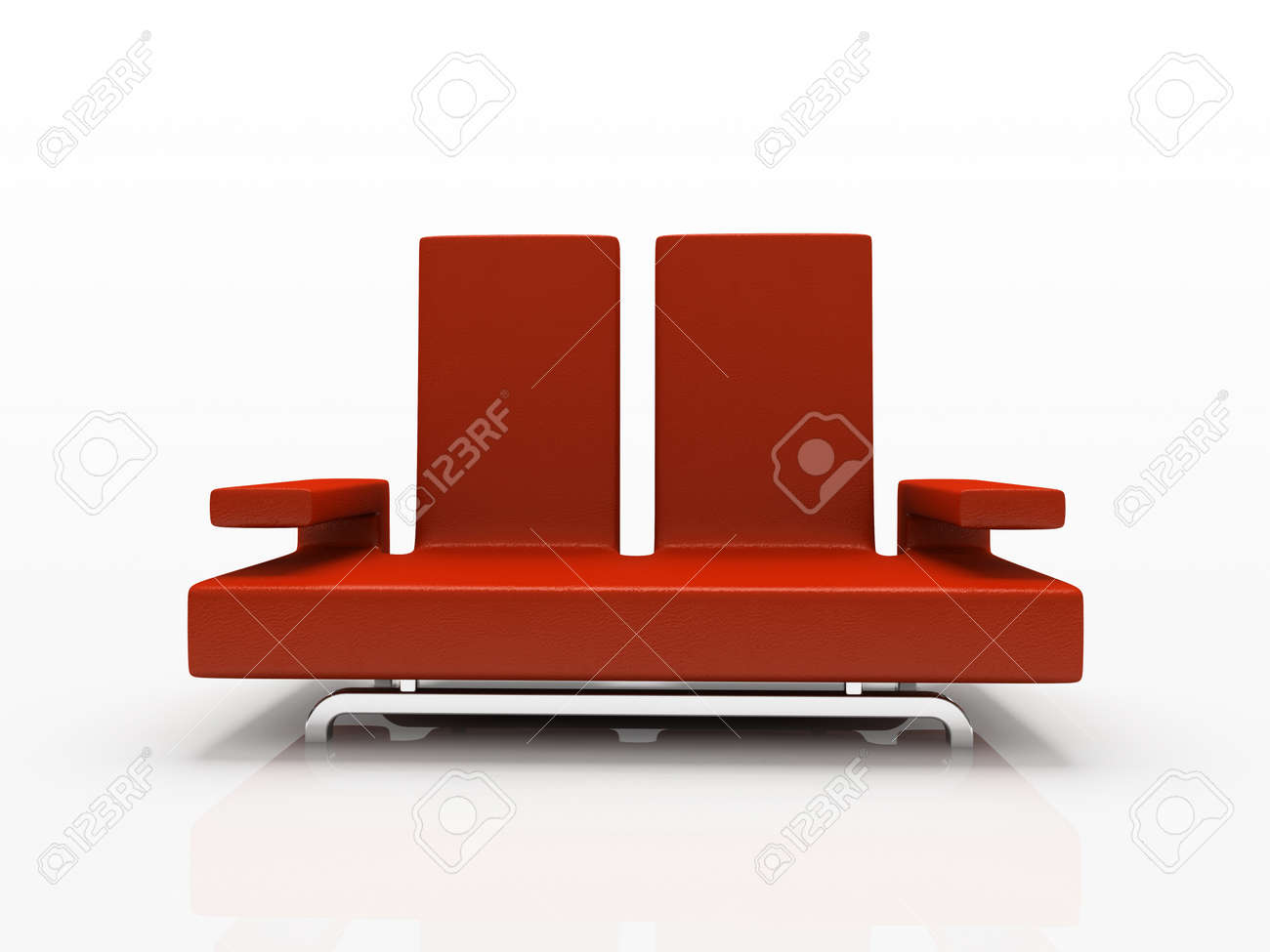 Red sofa on white background Stock Photo - 1412688
