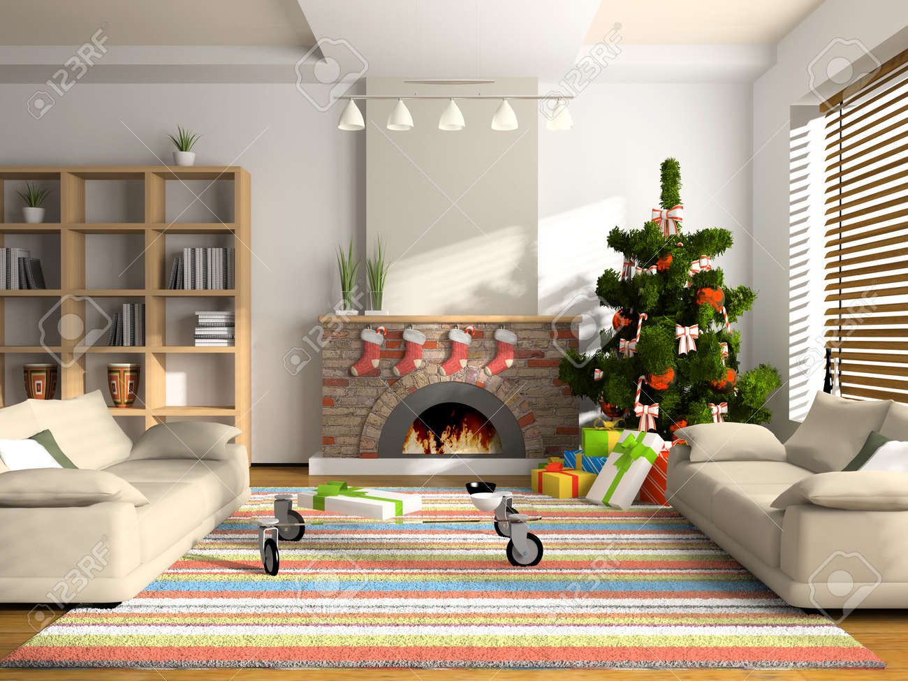 christmas interior 3d rendering you can hang your illustration