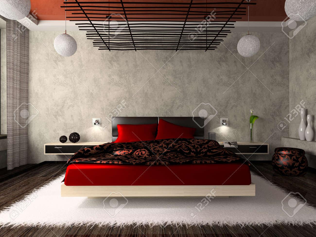 Luxuriöse Schlafzimmer In Rot 3D-Rendering Lizenzfreie Fotos, Bilder ...