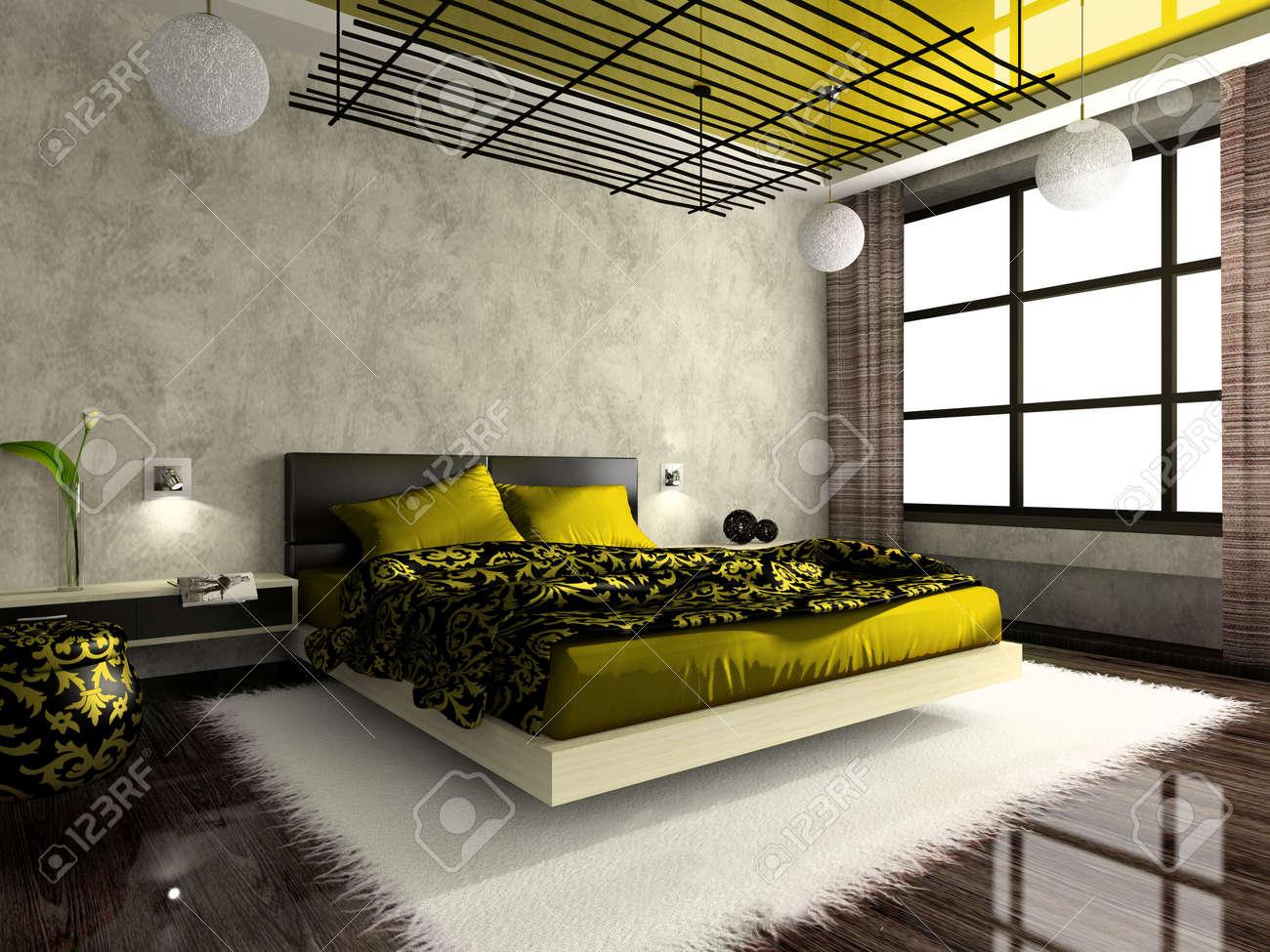 Luxueuze Interieur Van De Slaapkamer In Een Groene Kleur. Foto In ...
