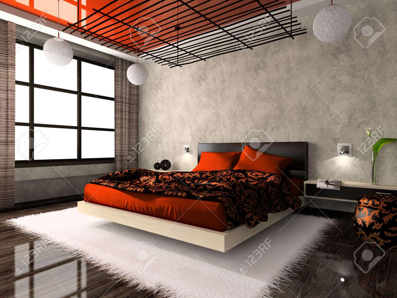 Interni lussuosi della camera da letto in colore rosso. Foto in rivista è  stata fatta da me, ho caricato il rilascio di modello