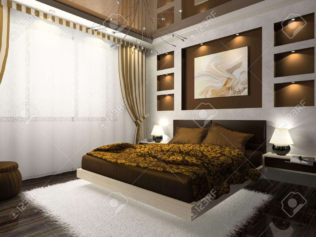 Interno della camera da letto confortevole in colore marrone. Foto sul  giornale è stato fatto da me, ho caricato il rilascio di modello