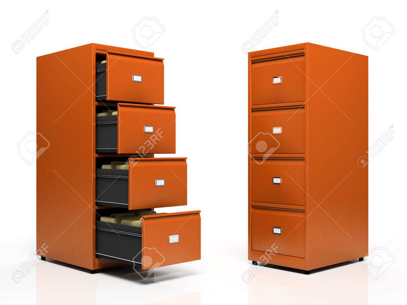 Orange card files isolated on white background Stock Photo - 3142521