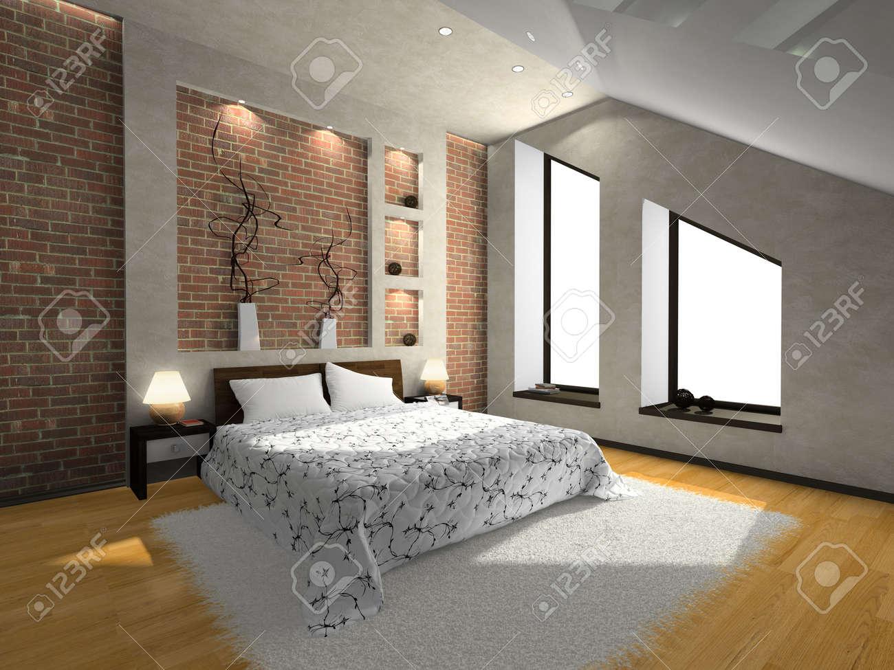 Vue sur la chambre à coucher moderne 3D. Photo du magazine a été faite par  moi, j\'ai téléchargé le modèle de la libération