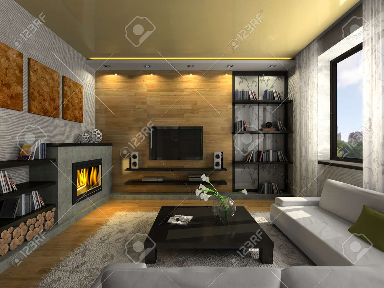 View On The Modern Apartment With Fireplace 3D. Photo In The ...
