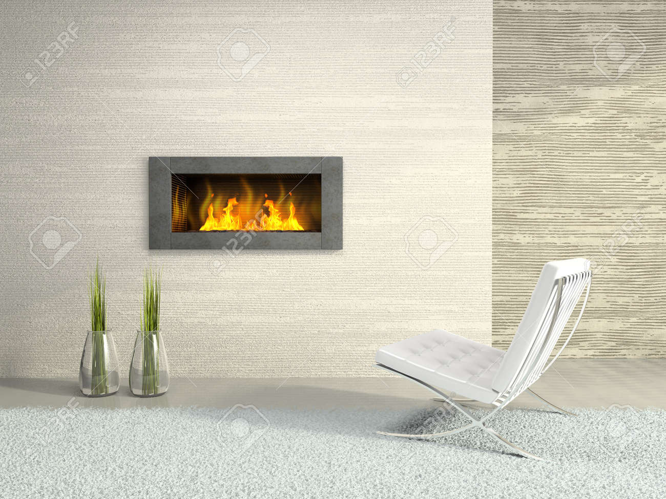 Part of the modern interior with fireplace 3D rendering Stock Photo - 4462530