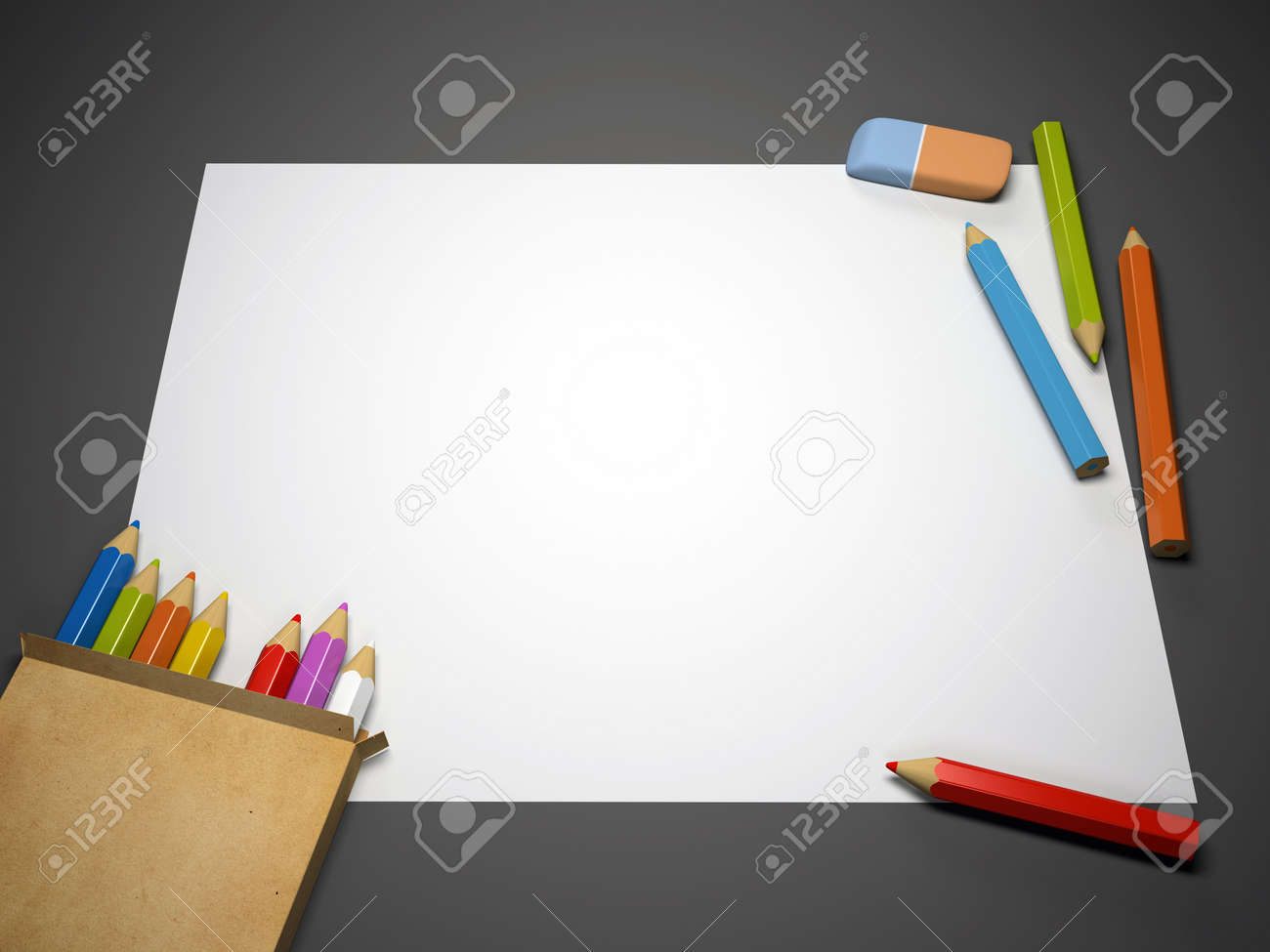 Colourful pencils, eraser and blank sheet of paper 3D rendering Stock Photo - 6262696