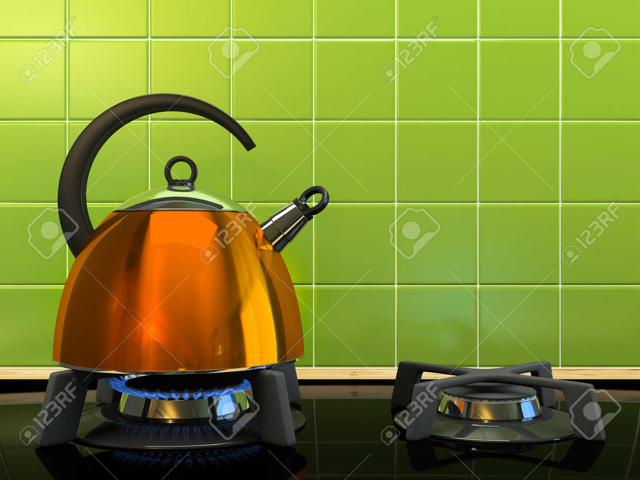 Orange kettle on the gas-stove 3D rendering Stock Photo - 7340969