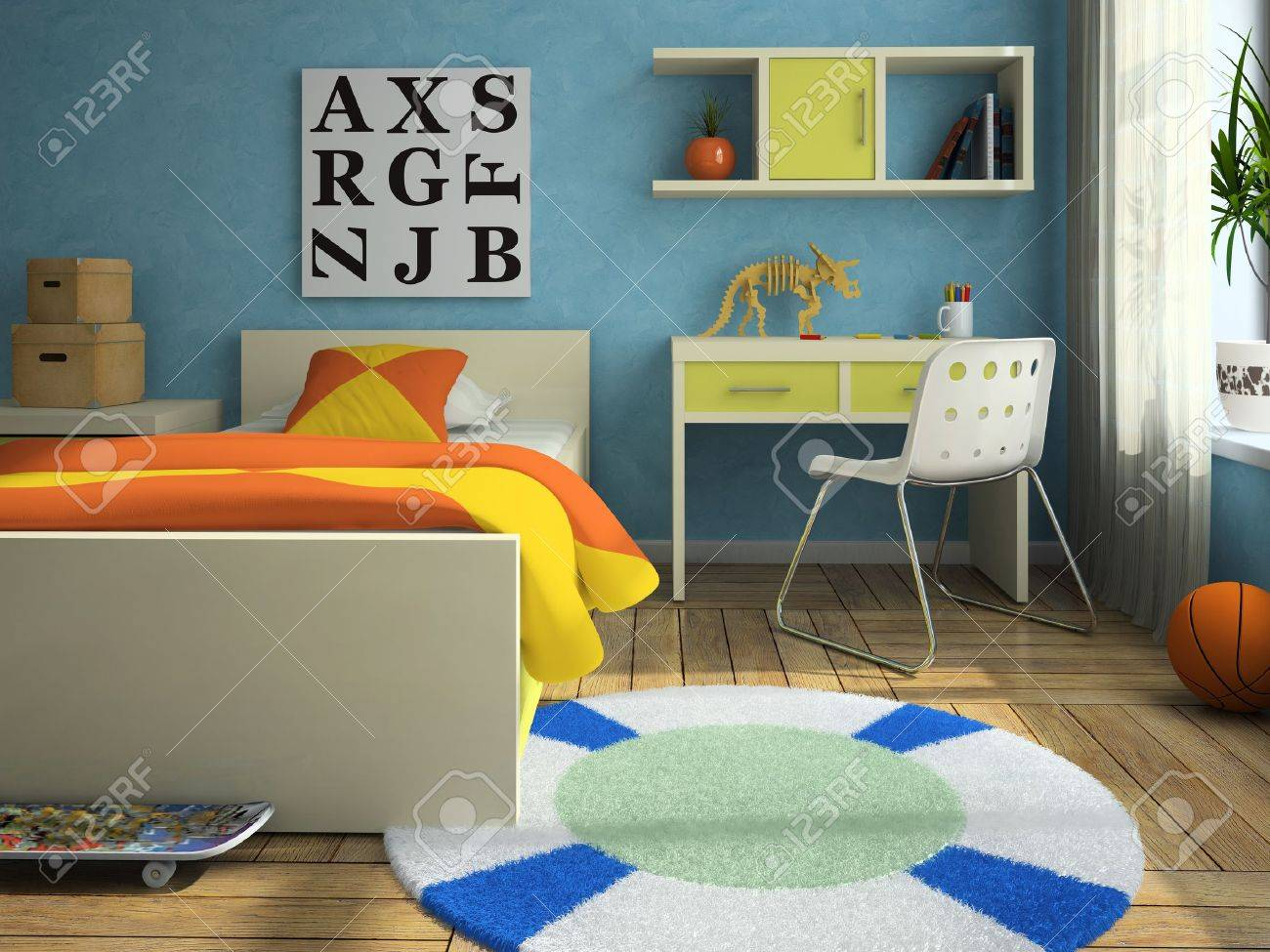 Interior of the modern childroom 3D rendering Stock Photo - 9158744