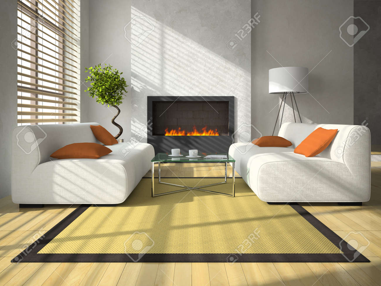 interior of the modern living room with fireplace 3d rendering