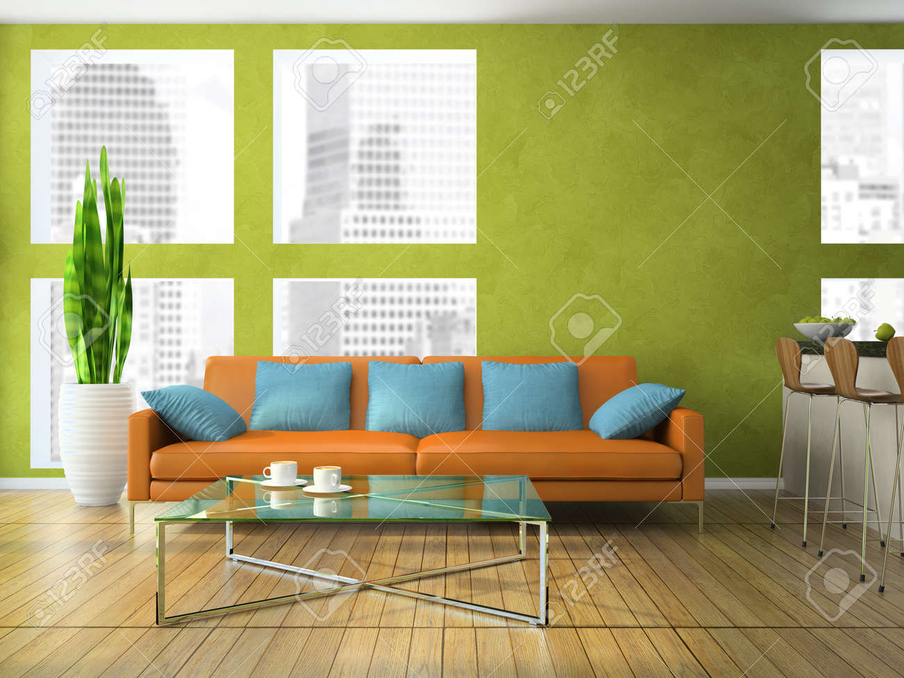part of the modern living room in green colour 3d rendering stock