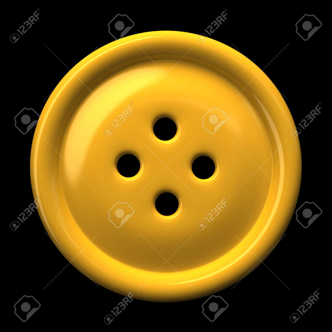 Yellow button for clothing isolated on black background 3D rendering Stock Photo - 9396359