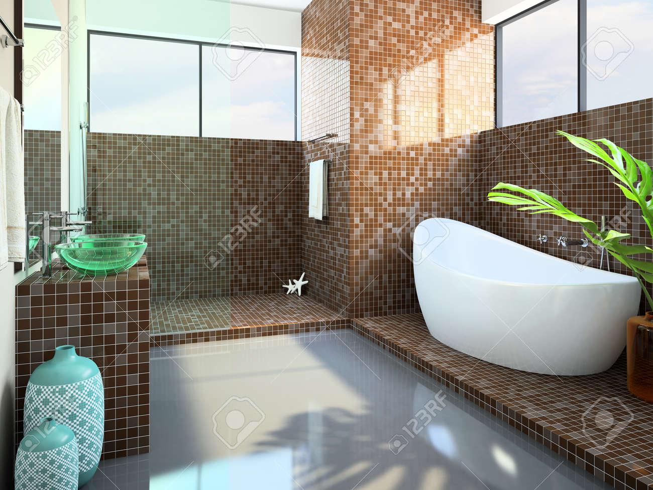 Modern interior of the bathroom 3D rendering Stock Photo - 9615697