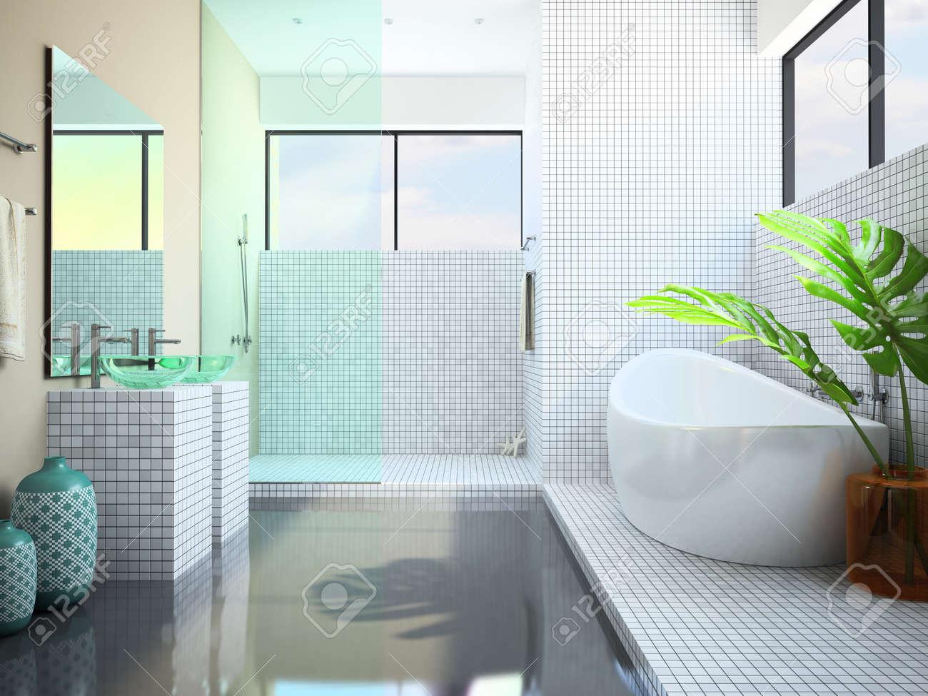 Modern interior of the white bathroom 3D rendering Stock Photo - 9615693
