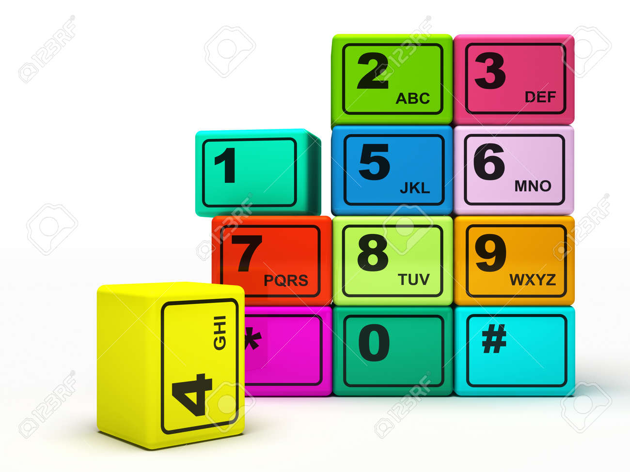 Multicoloured buttons of the phone isolated on white background 3D rendering Stock Photo - 9615687
