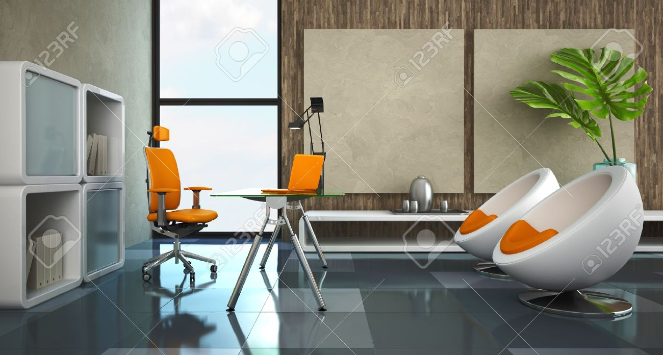 Modern interior of the private office 3D rendering Stock Photo - 9830536