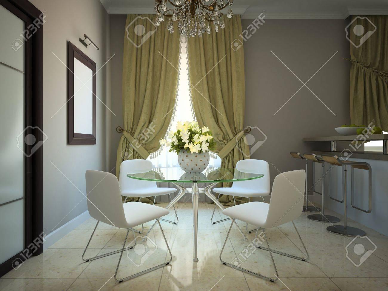 Salle à Manger Dans La Maison De Campagne Moderne 3D Banque D\'Images ...