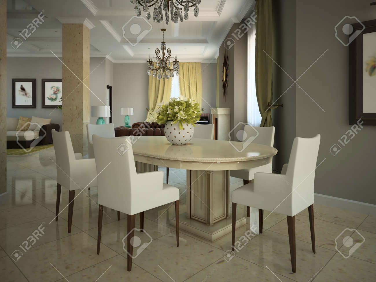 Modern country dining room - Dining Room In The Modern Country House 3d Stock Photo 11890970
