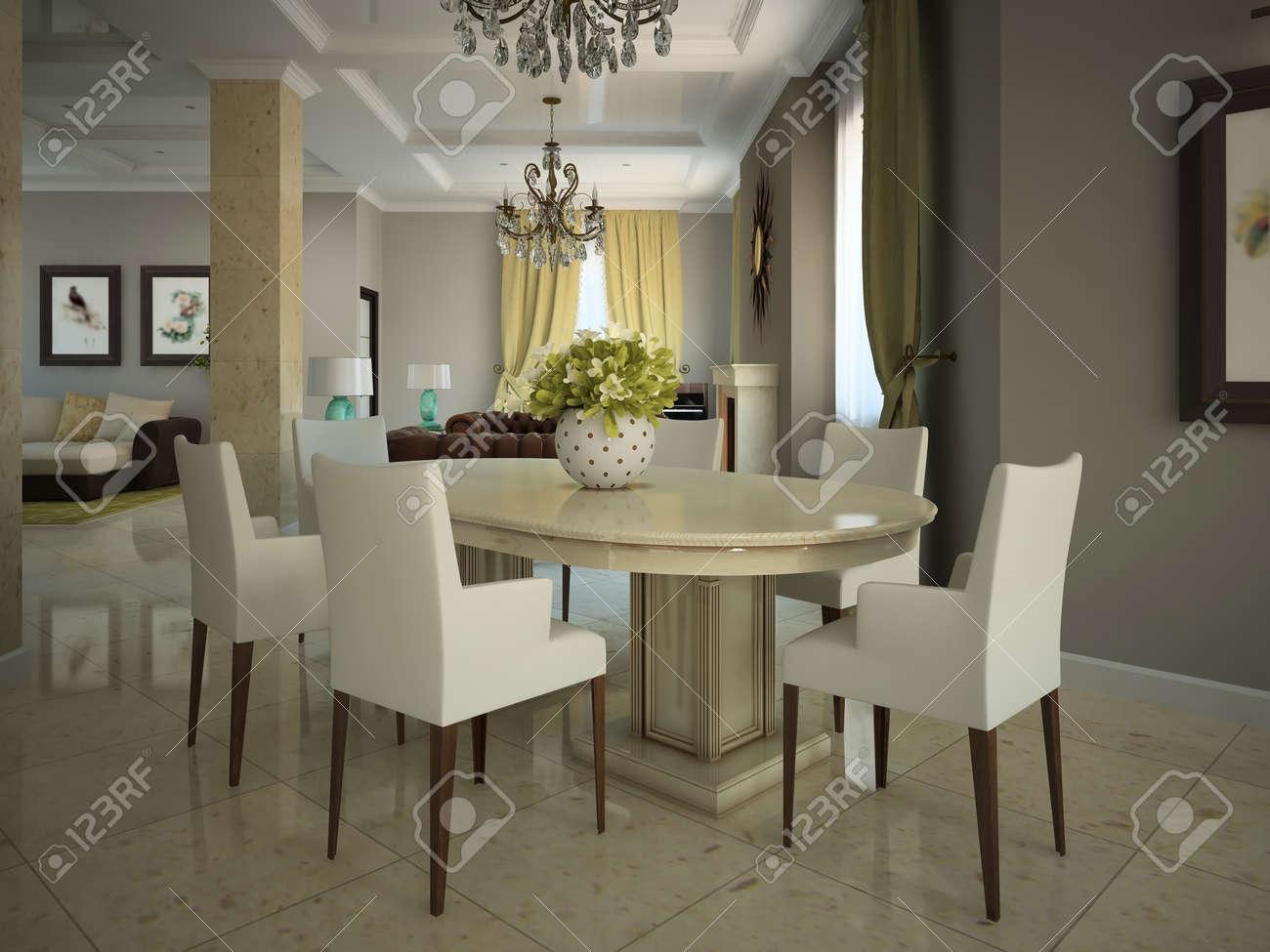 Salle à manger dans la maison de campagne moderne 3D