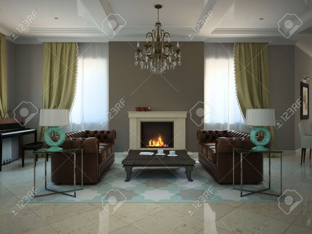 living room in the modern country house 3d stock photo picture