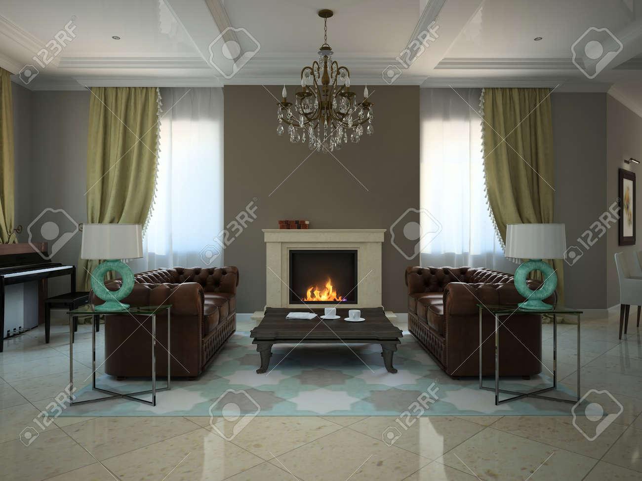Séjour Dans Le Monde Moderne Maison De Campagne 3D Banque D\'Images ...