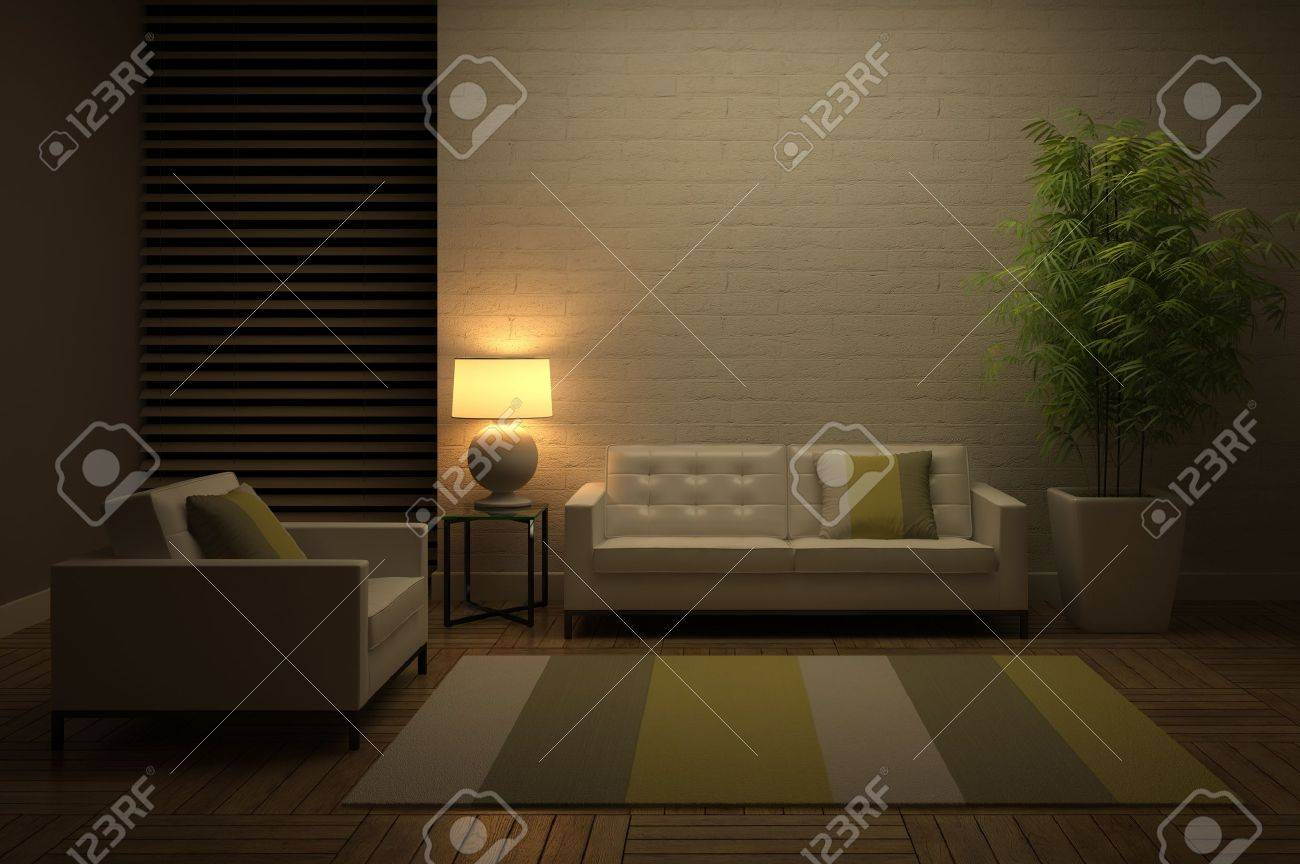 View on the evening interior 3D rendering Stock Photo - 13720174