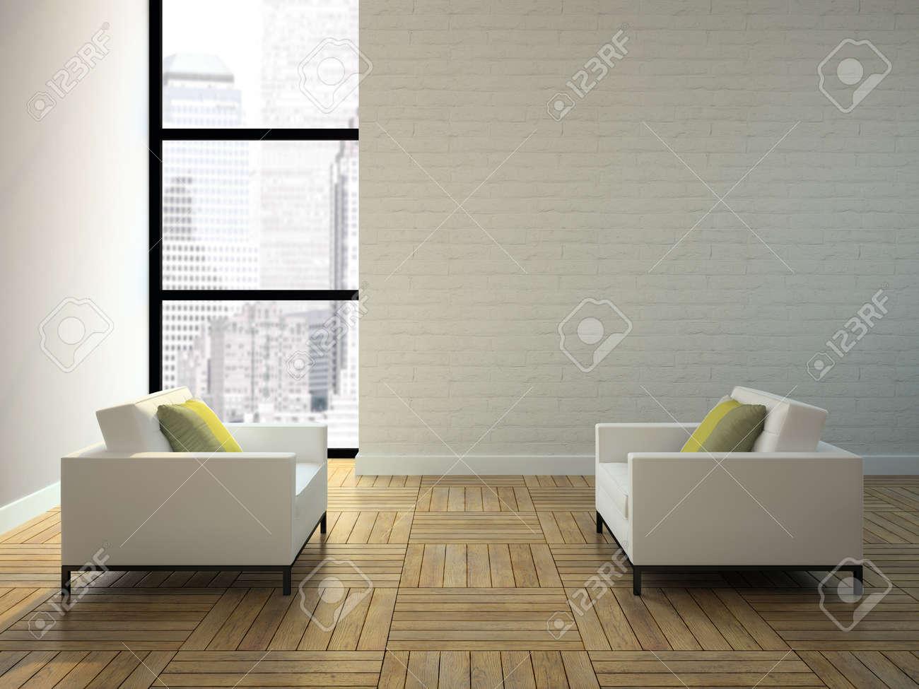 View on the interior in skyscraper 3D rendering Stock Photo - 13720176