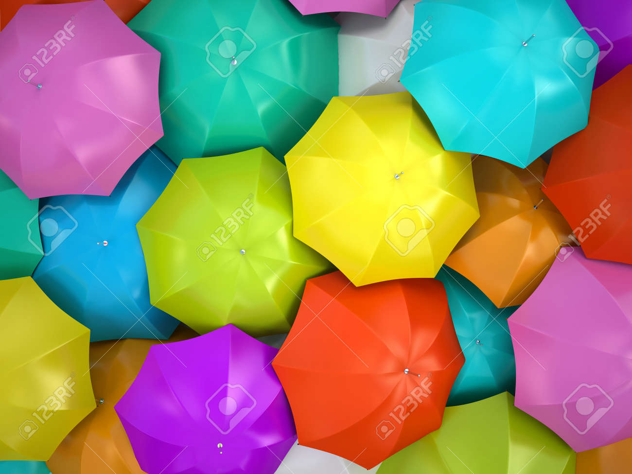 Colorful umbrellas 3D rendering Stock Photo - 15151117