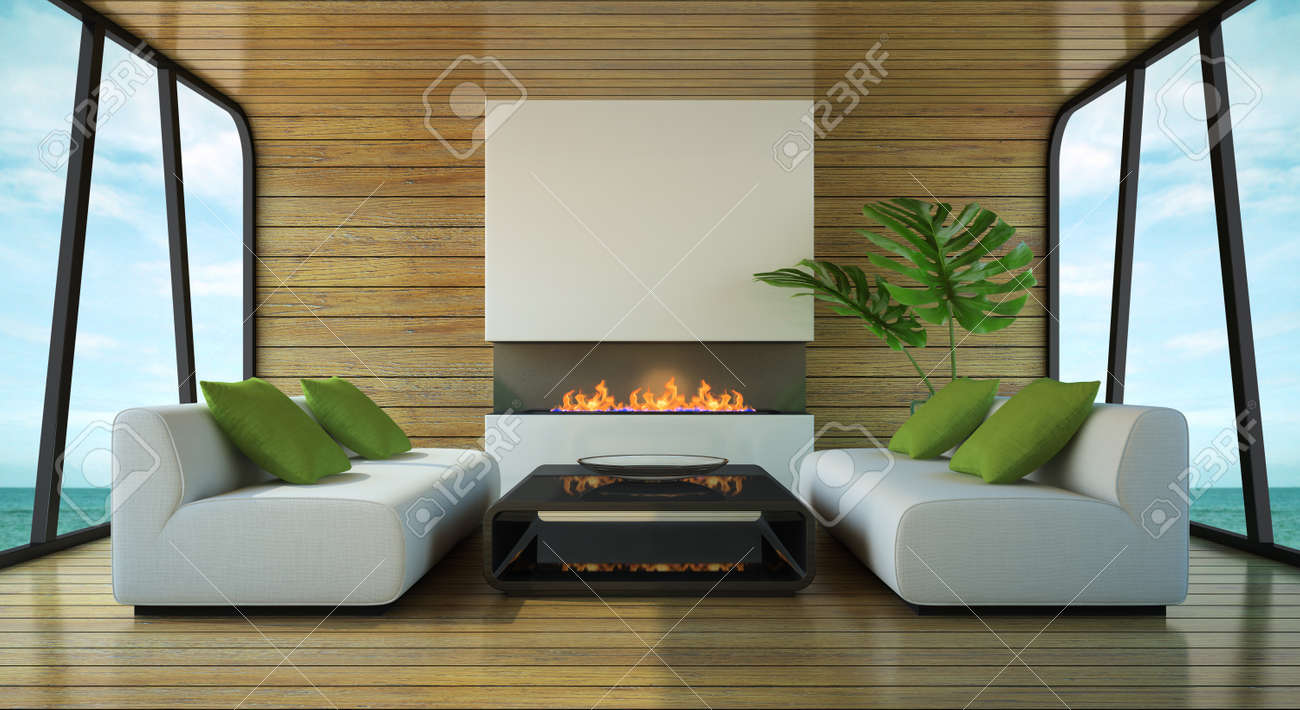 modern interior of the beach house 3d rendering stock photo 15151123