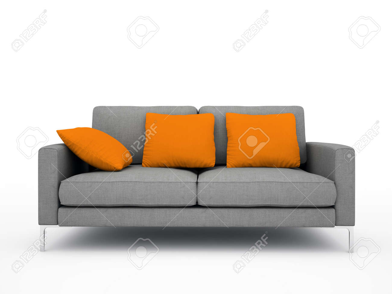 Illustration   Modern Grey Sofa With Orange Pillows Isolated On White  Background Illustration