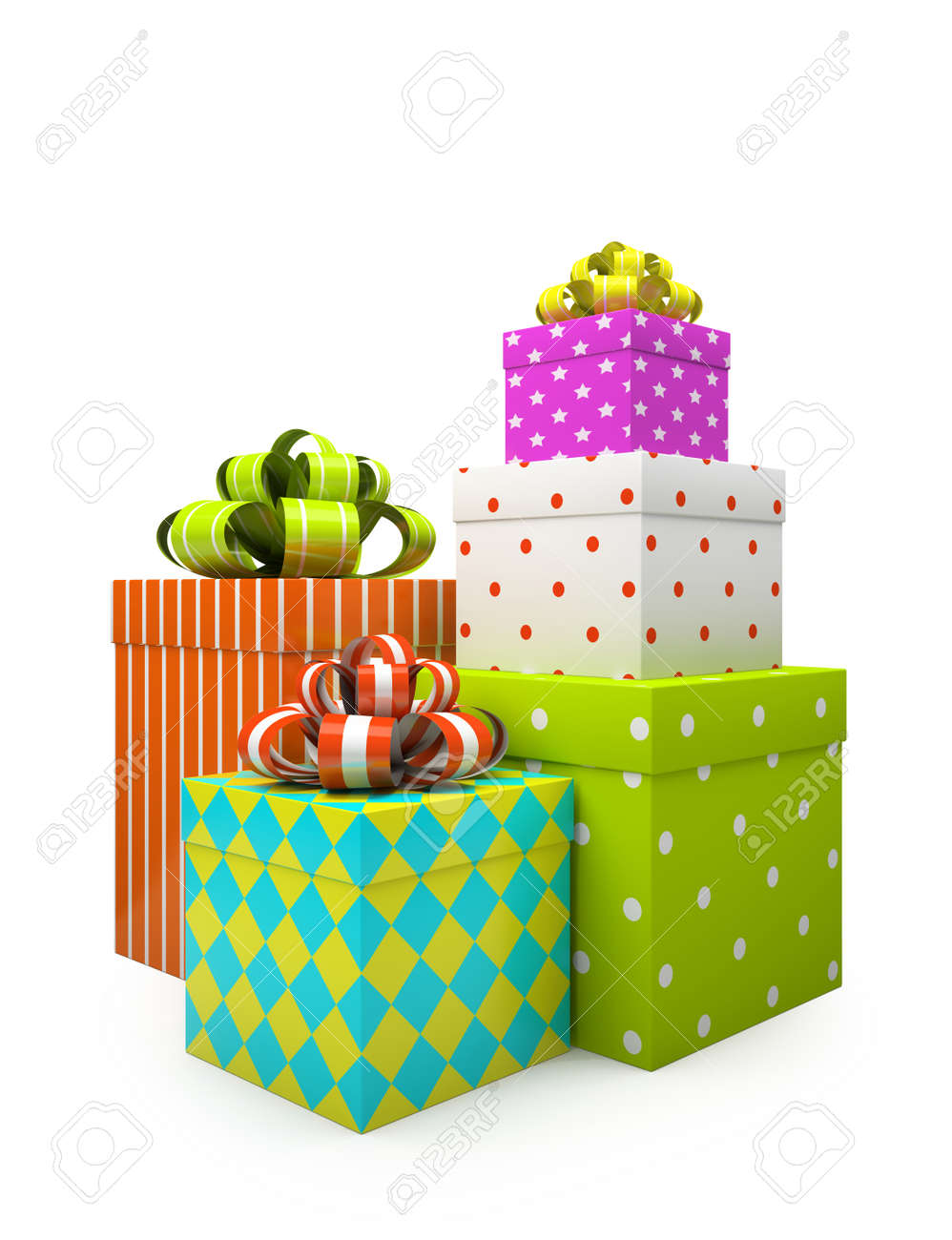 Color gift boxes isolated on white backgroung illustration Stock Photo - 16175254