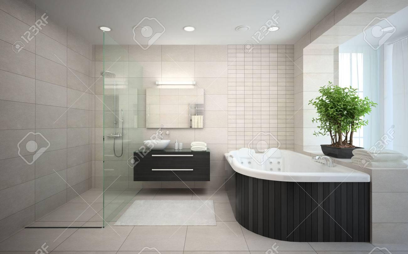 Interior Del Cuarto De Baño Moderno Diseño De Representación 3D ...
