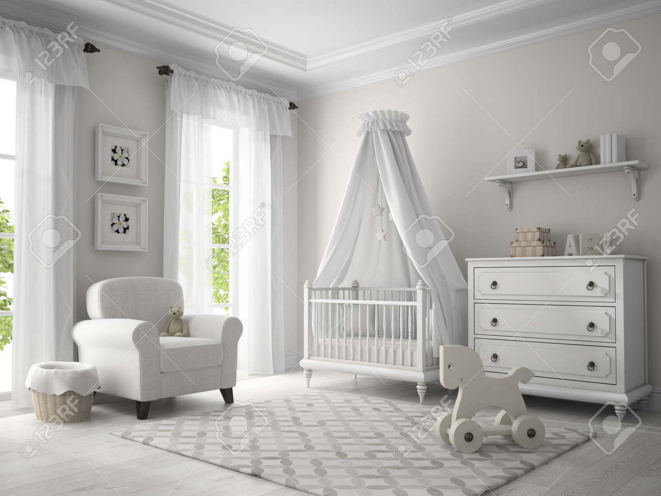 Classic children room white color 3D rendering Stock Photo - 57656725