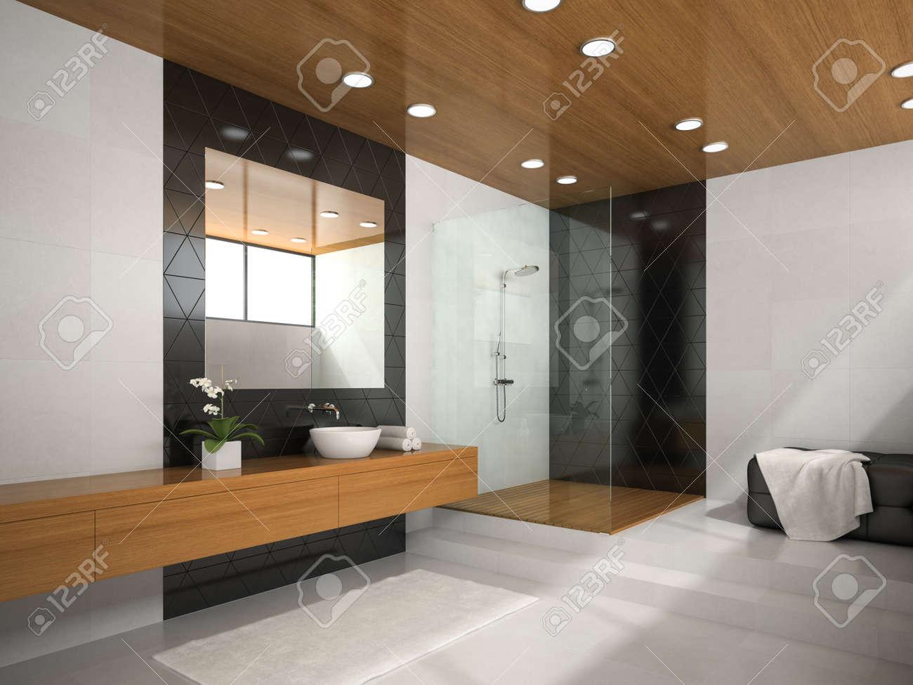 Intérieur de salle de bains avec un plafond en bois rendu 3D